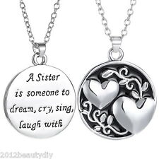 1PC Enemal Heart Round Pendant Sister Engraving Fashion Necklace Sweater Chain