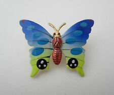 Multi-Coloured Butterfly Brooch Pin Enamel Metal Vintage 1970s Insect Design 4