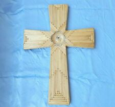 "Hand crafted Cross made of wooden craft sticks Size 21""x 15""x .75"""