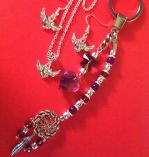 "winged Heart/sterling Silver Chain22""&925earings+Dreamcatcher Fob/boxed."