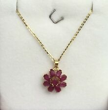 14k Solid Yellow Gold Flat Rolo Chain With Flower Natural Ruby Pendant.