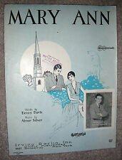1927 MARY ANN Vintage Sheet Music JOE MORRISON by Benny Davis, Abner Silver