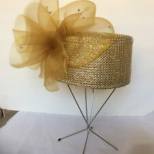 Church Hat  Dazzling Gold Pillbox Hat