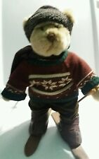 Russ Plush ~~   Powder ~~  Boy Bear Skiing  Dressed Alpine Lodge Christmas