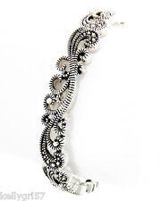 Faux Marcasite Filigree Swirl Elegant Designer-Inspired Stretch Bracelet #177-E