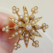 Antique Victorian 15ct Gold Diamond (0.37cts) & Pearl set Snowflake Brooch c1885