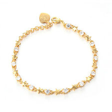 Womens Chain Star Bracelet Bangle Crystal Yellow Gold Plated Gift Adjustable