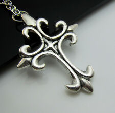 Free Simple Tibetan Silver Cross Charm Lucky Pendant chain Necklace Best Gift