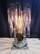 Old Electric Waterfall Crystals Table Boudoir Lamp Unique