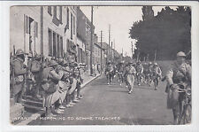RARE MILITARY POSTCARD SOLDIERS MARCHING TO SOMME TRENCHES. WW1 World War One
