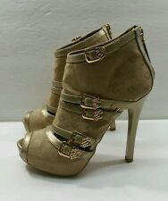 Rocawear RW Monogram Gold Ankle Boots - Size 5