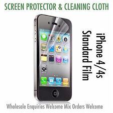 Iphone 4 4s Screen Protector & Cleaning Cloth Wholesale Bulk Job Lot x 10