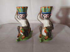 SET OF TWO 1988 LYNN CHASE DESIGNS MONKEY BUSINESS PORCELAIN TEA CANDLE HOLDER