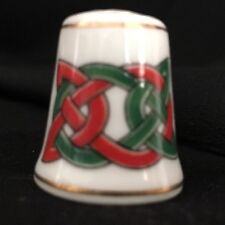 Royal Tara Green Red Celtic Knot Thimble Irish Galway Ireland Bone China
