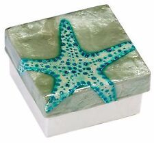 Capiz Shell Box with Starfish, Airbrushed By Hand, Decorative Box, 3""