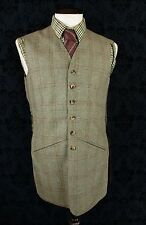 "BESPOKE MENS VTG JOHN G HARDY TWEED SHOOTING HUNTING WAISTCOAT LONG 40"" MEDIUM"