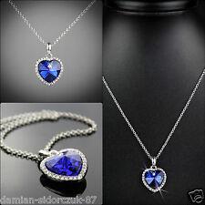 Herz des Ozeans Swarovski Element Blau Kette + Geschenk Etui +Original Design 61