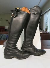 DeNiro Boot Company Leather Riding Boots Black Equestrian Stretchers Bag Italy