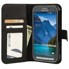 Black PU Wallet Flip Cover Case for Samsung Galaxy S5 ACTIVE Phone Model