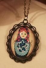 Lovely Scalloped Brasstne Blue & Hot Pink Russian Princess Doll Pendant Necklace
