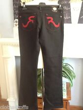 ROCK & REPUBLIC JEANS BLACK DENIM RED CRYSTALS 27 WAIST 30 LOW RISE LEG 34