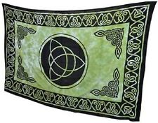 """Green Triquetra Tapestry Blanket 72 x 108"""" Wiccan Pagan Altar Supply WTCG"""