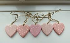 BUNTING Shabby Chic Pinks & White Polkadot  Wooden Hanging Heart Garland