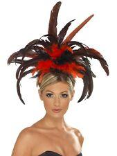 Carnaval De Mardi Gras Festival Cancan Burlesque Noir Rouge Coiffe Plume 21043