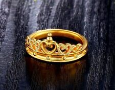 Authentic 999 24K Yellow Gold Ring 3D Crown Design Ring Band 1pcs Size: 5.5