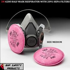 3M 6200 HALF MASK RESPIRATOR WITH P100 FILTER CARTRIDGES SIZE MEDIUM