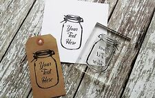 "Personalised custom stamp ""mason jar"" artisanat, business, mariages, cadeaux tags"