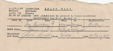 Military Australia WW2 soldier Knuckey signals 3 brigade1944 leave pass to Perth
