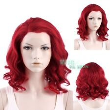 """11"""" Short Red Curly Lace Front Synthetic Wig Heat Resistant"""