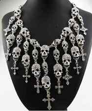 Skeleton Skull Choker Pendant Necklace Goth Punk Cross Vintage Statement Rock