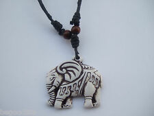 A Tribal Yak Bone Powder Resin Lucky Elephant Pendant Necklace Adjustable YK063