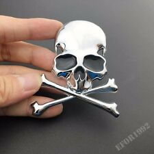 3D Chrome Metal Skull Auto Trunk Motorcycle Fuel Tank Emblem Badge Decal Sticker