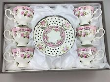 Coffee Tea Cups & Saucers Set of 12 Pieces Bone China Pink White