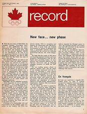 1966 VOL. 1, NO 1 CANADA OLYMPIC ASSOCIATION NEWSLETTER - FEBRUARY 1966