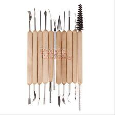 11pcs Clay Sculpting Wax Carving Pottery Tools Polymer Modeling Wood Handle #P