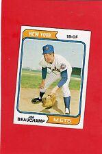 1974 topps baseball # 424 Jim Beauchamp New York Mets mint