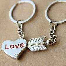 1Pair Couple Keychain Key Ring Love Heart Arrow Key Ring For Valentine Day Gift.