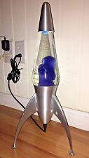 Vintage Electric Rocket Ship Style Lava Lamp Blue Lava