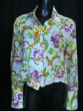 Escada Women's White Multi-Color Ruffle Floral Button Down Shirt Size 42