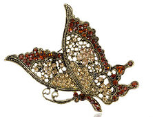 GB Regal Queen Brown Yellow Topaz Diamante Butterfly Flying Profile Pin Brooch