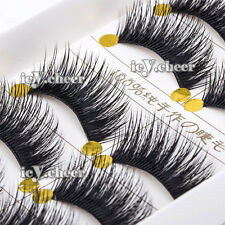 Makeup 5 Pairs Long Thick False Eyelashes Black Soft Cross Fake Eye Lashes Set