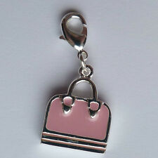 Silver and pink handbag charm 30mm. Complete with lobster clasp.