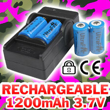 4 PILES ACCU RECHARGEABLE CR123A 3.7V 123A 16340 1200Mah LI-ION + CHARGEUR