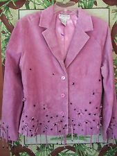 Victor Costa Occasion Suede 100% Leather Jacket Womens Pink szS Lined, tassell