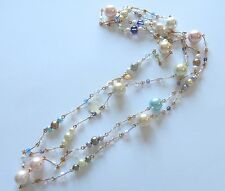 "Joan Rivers Fashion Necklace-faux pearls gold tone-blue pink green-60"" long"