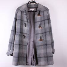 BANANA REPUBLIC Gray Plaid Checkers Wool Trench Coat Wood Toggle Buttons- Size M